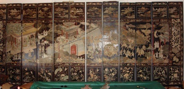 1301: Antique Chinese Coromandel Screen 12 Panel 17th C