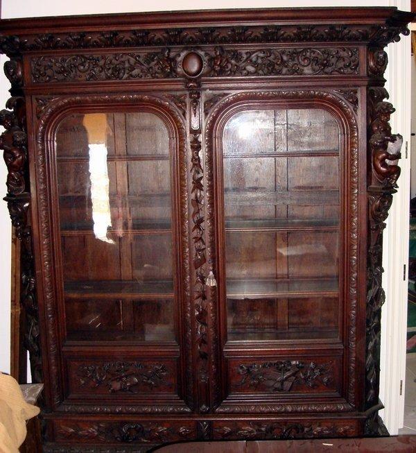 1304: Antique Herter Brothers Attr. Bookcase Oak Carved