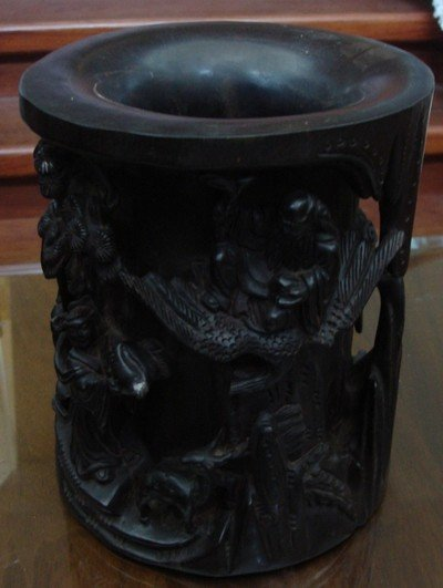 1206A: Chinese Zitan Brush Pot Carved 18th C.