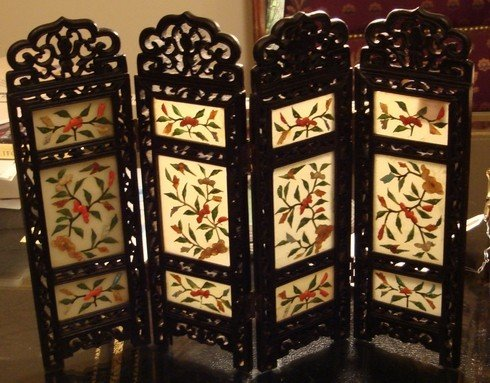 1209A: Antique Chinese Jade Stone Table Screen 19th C.