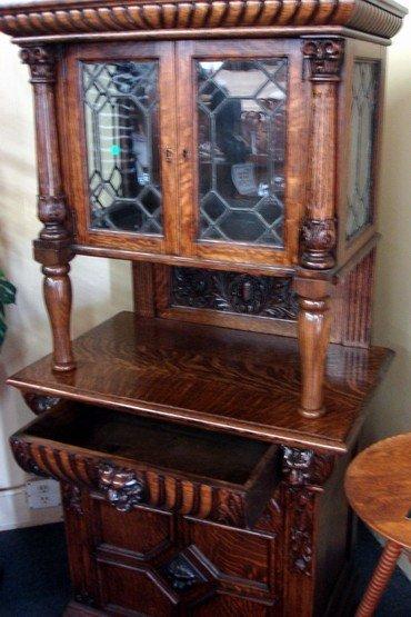1401: Tiger Oak Curio Cabinet