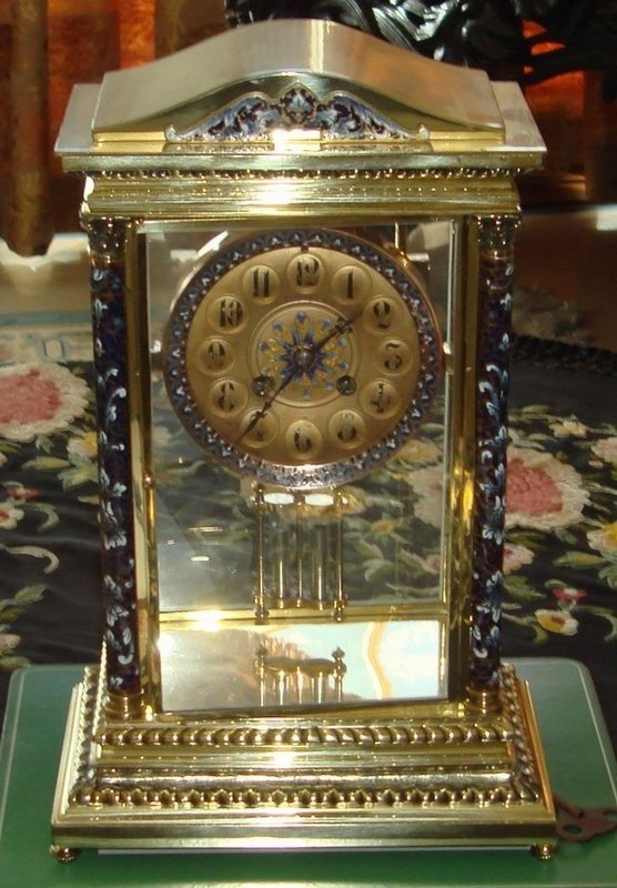 1405: Antique Tiffany Champleve Crystal Regulator Clock