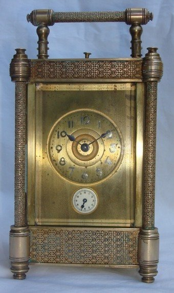 1413: Antique French Carriage Clock Repeater 19th C.