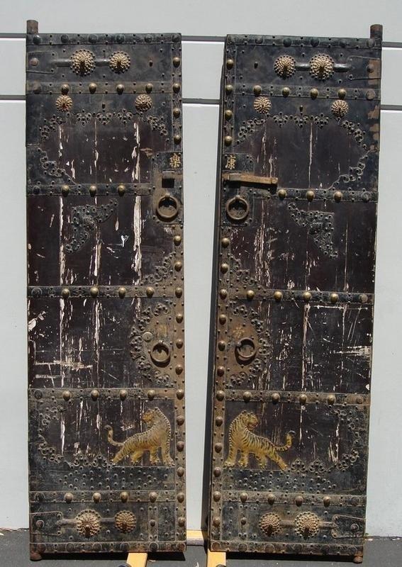 1414:  Antique Chinese Doors Gates 18th C Teak Iron 8'
