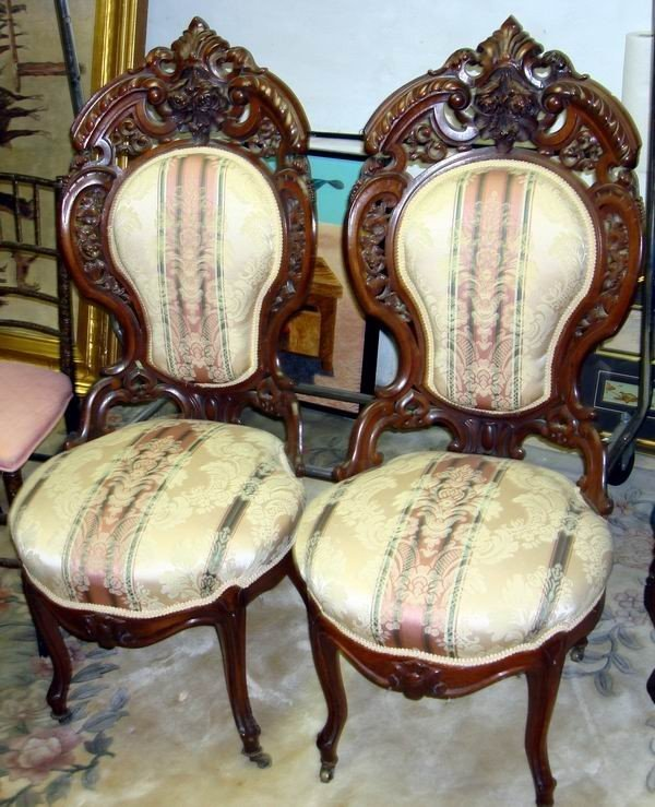1419: Antique Meeks Chairs Walnut Pair Victorian 19th C
