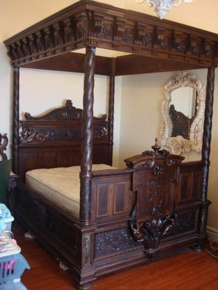 & 1424: Antique French Oak Canopy Bed Barbedienne Bronze