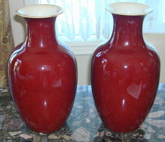 1435: Pair Chinese Kangxi Oxblood vases