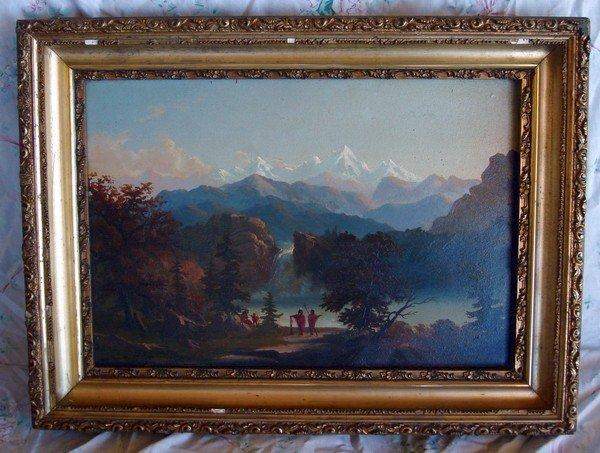 1491: Oil Painting Bierstadt 1830 - 1902 - Encampment