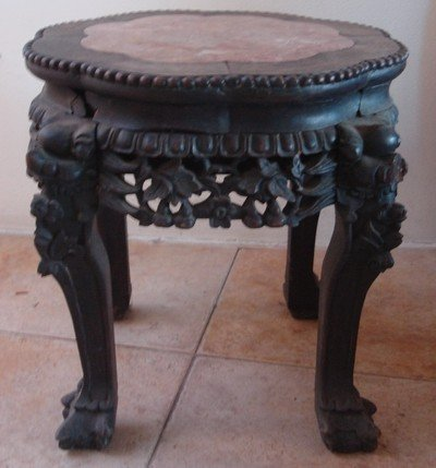 Antique Chinese Carved Rosewood Marble Top Table