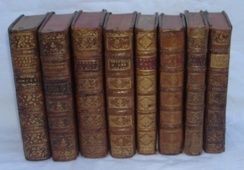 1408D: 8 Antique Leather Books French from 1700s