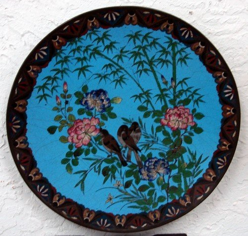 1601: Antique Chinese Cloisonne Charger Bird Motif