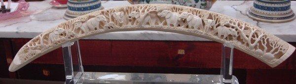 1602: Large African Carved Ivory Tusk Elephant Motif