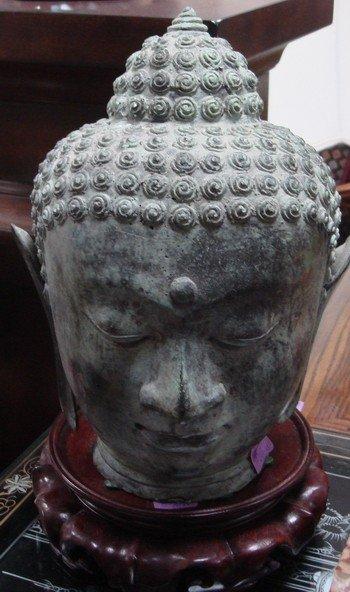 1603: Bronze Thai Buddha Bust Ayutthaya