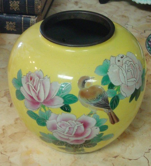 1604: Yellow Chinese Cloisonne Crysanthemum Vase