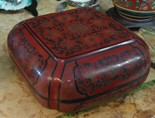 1606: Antique Chinese Red Lacquer Box 19th C.