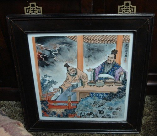 1607: Antique Chinese Painted Porcelain Plaque Signed