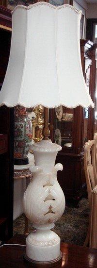 1609: Lager Elegant Carved Alabaster Lamp