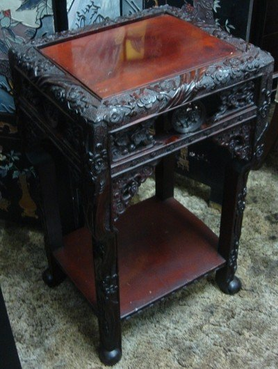 1610: Antique Chinese Carved Rosewood Table Stand