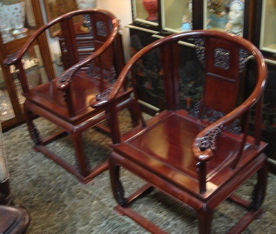 1613: Pair Antique Rosewood Horshoe Chairs 19th C.