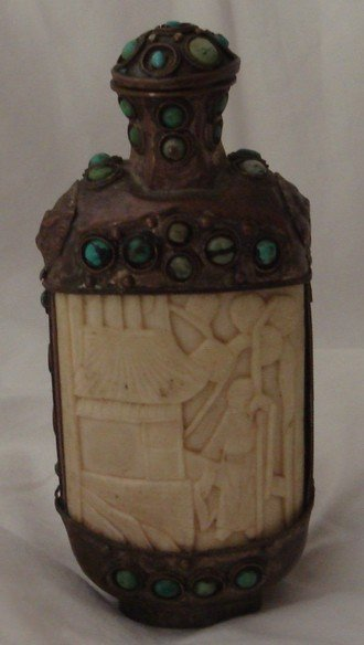 1618: Antique Chinese Tibetan Ivory Copper Stone Snuff