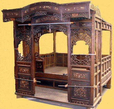 1666: Large Antique Chinese Canopy Bed Jiazichuang Qing