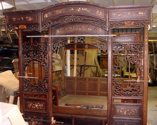 1666: Large Antique Chinese Canopy Bed Jiazichuang Qing - 2