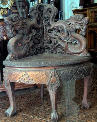 - 1672: Antique Chinese Dragon Corner Chair 1800s