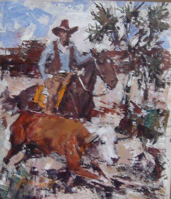 1709: Oil Painting James Lee Colt 1922 – 2005 Western