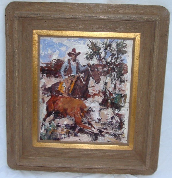 1709: Oil Painting James Lee Colt 1922 – 2005 Western - 2