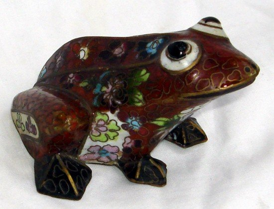 1608A: Antique Chinese Cloisonne Frog 19th C.