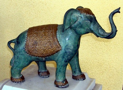 1617A: Patinated Bronze Indian Elephant