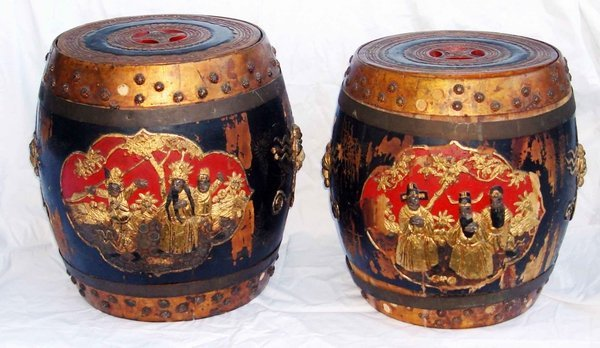 2014: Two Antique Carved Chinese Barrel Tables.