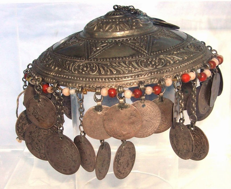 2050: Antique Silver Ottoman Headdress 18th C. 52 Coins
