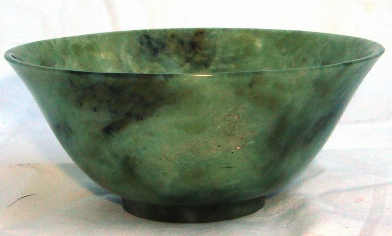 2052: Small Antique Chinese Spinach Jade Bowl