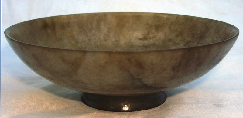 2053: Medium Antique Chinese Spinach Jade Bowl