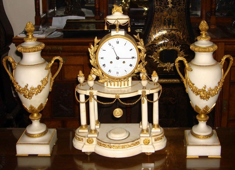2058: Antique French Marble Clock & Garnitures 18th C.
