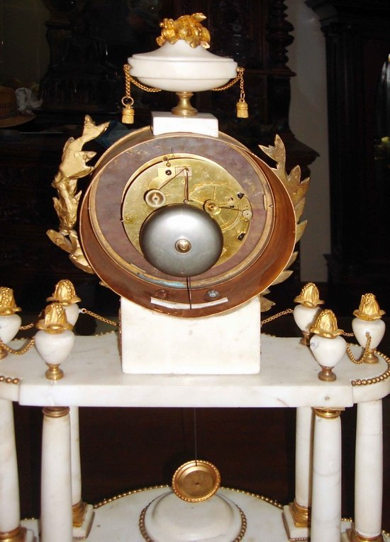 2058: Antique French Marble Clock & Garnitures 18th C. - 4