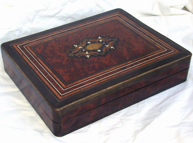 2062: Antique French Napoleon III Rosewood Burl Inlaid