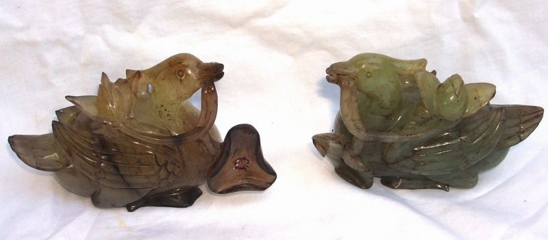 2063: Pair Chinese Carved Green Quartz Ducks