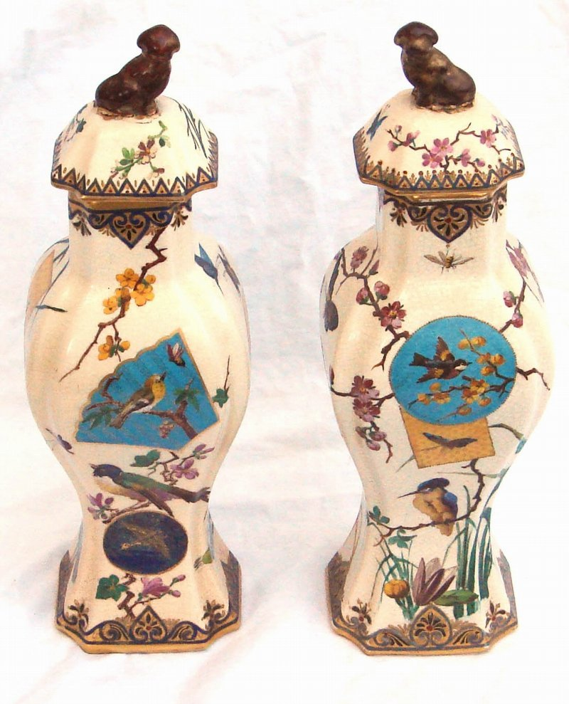 2064: Pair French Japonaiserie Ceramic Vases Late 1890s