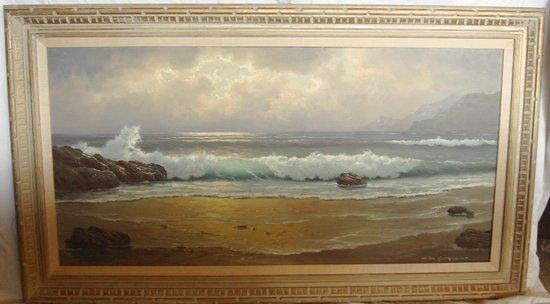 2110: Oil Painting Anton Gutknecht 1852 - 1988 Seascape