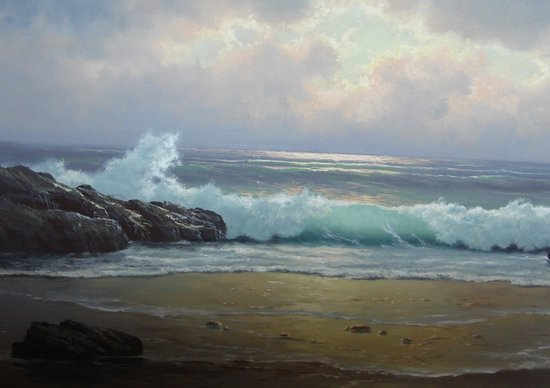 2110: Oil Painting Anton Gutknecht 1852 - 1988 Seascape - 2
