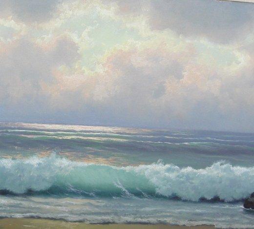 2110: Oil Painting Anton Gutknecht 1852 - 1988 Seascape - 4