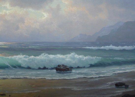 2110: Oil Painting Anton Gutknecht 1852 - 1988 Seascape - 5