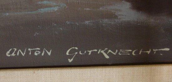 2110: Oil Painting Anton Gutknecht 1852 - 1988 Seascape - 6