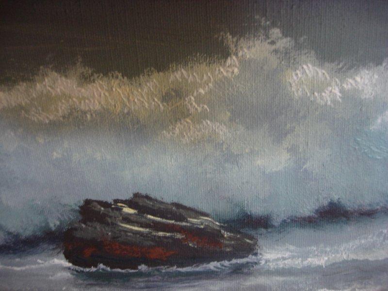 2110: Oil Painting Anton Gutknecht 1852 - 1988 Seascape - 7