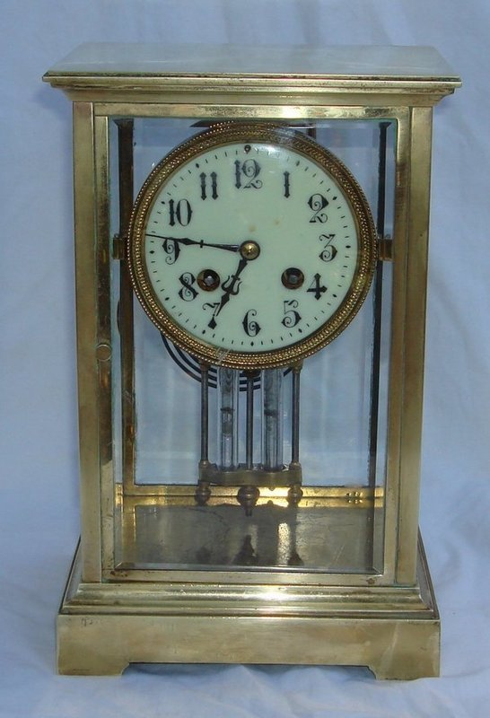 2053A: Antique French Clock Regulator Brass Glass 19th
