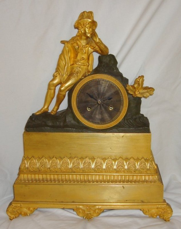 2053B: Antique French Clock Late 18th C. Silk Susp. Fig