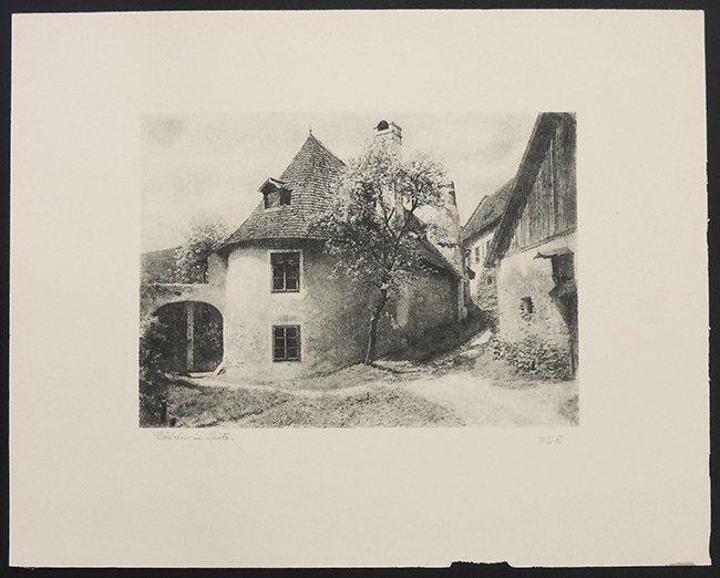 Gäßchen in Spitz, engraving, signed W.L.