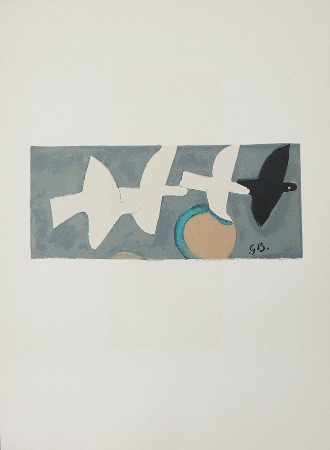 George Braque, oiseaux dans le ciel, original lithograp
